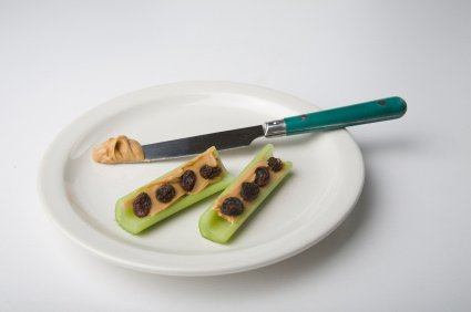 ants on a log - celery, peanut butter and raisins