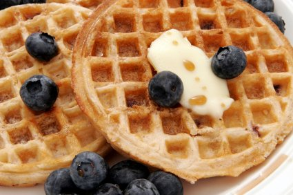 umm umm good, delicous blueberry waffles