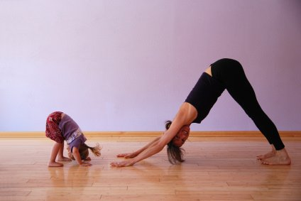 yoga with kids: down dog mom
